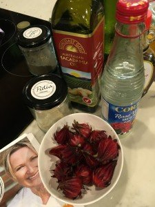 Cooking class food as medicine - ingredients macadamia oil rosellas