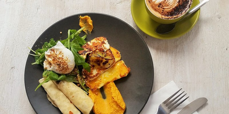 Grilled Halloumi and coffee