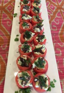 How to make watermelon creme fraiche canapes - plate of watermelon canapes