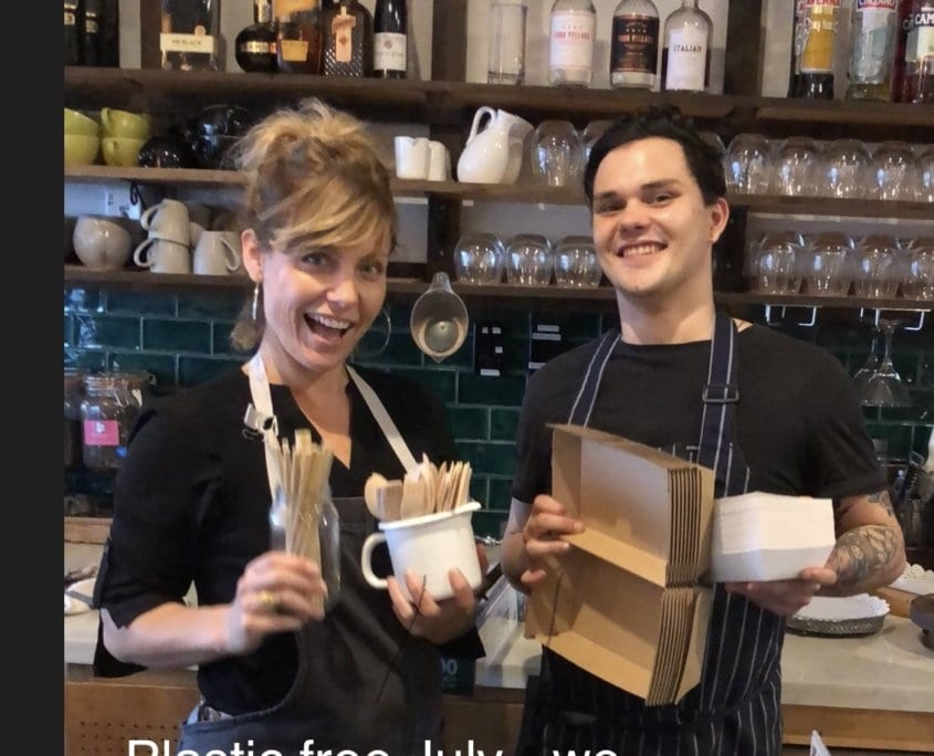 Plastic Free July - Kylie and Liam with recyclable packaging