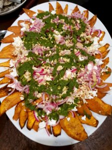 Vegetarian Mediterranean Cooking Class with a Difference - Roast Sweet potato with pickled onions, feta, almond and mint salsa Chef Dominique Rizzo